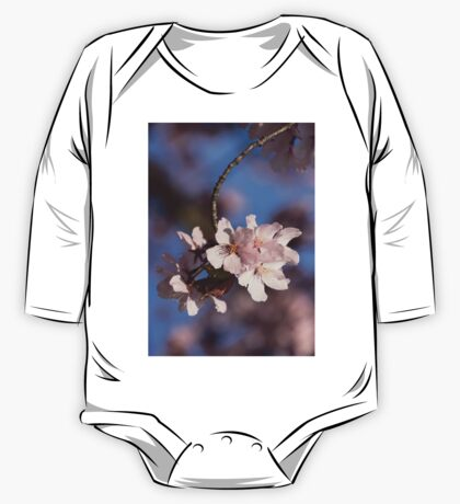 Pink Spring - Sunlit Blossoms and Blue Sky, Vertical One Piece - Long Sleeve