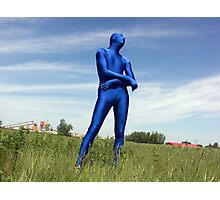 Blue Zentai in the Field 1 Photographic Print