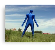 Blue Zentai in the Field 4 Canvas Print