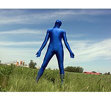 Blue Zentai in the Field 4 Photographic Print