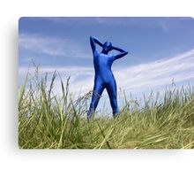 Blue Zentai in the Field 6 Canvas Print