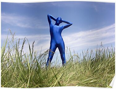 Blue Zentai in the Field 6 by mdkgraphics