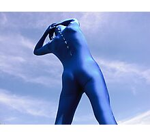 Blue Zentai in the Field 9 Photographic Print