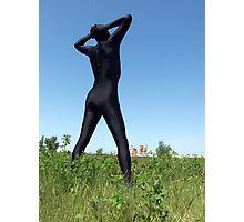 Black Zentai in the Field 1 Photographic Print