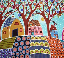 Trees Houses Barn And Birds by karlagerard