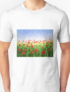 Red Poppy Field Abstract  T-Shirt