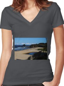GlassHouse Rocks  Beach #8, Narooma Women's Fitted V-Neck T-Shirt
