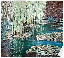 Monets garden with frog and bridge. Poster