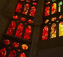 Glorious Reds and Yellows - Sagrada Familia Stained Glass Windows by Georgia Mizuleva