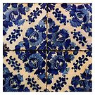 Blue flowers tile by Madalena Lobao-Tello