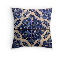 Blue flowers tile Throw Pillow