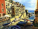 Riomaggiore Italy Late Afternoon by Randy Sprout