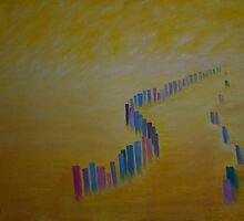 The Queu - abstract painting of a queu in Botswana by Violette Grosse