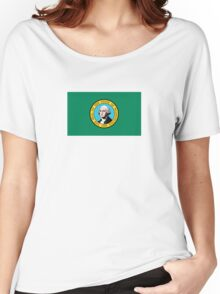 Washington State Flag USA Seattle Bedspread T-Shirt Sticker Women's Relaxed Fit T-Shirt