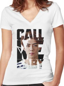 EXO Sehun 'Call Me Baby' Women's Fitted V-Neck T-Shirt