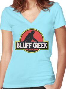 Bluff Creek Sasquatch Bigfoot T Shirt Women's Fitted V-Neck T-Shirt