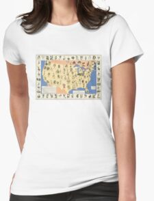 Amazing map of 'Herbal Cures' from 1932 Womens Fitted T-Shirt