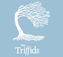 Triffids tree and logo in white - tree by Martyn P Casey Kids Tee