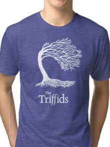 Triffids tree and logo in white - tree by Martyn P Casey Tri-blend T-Shirt