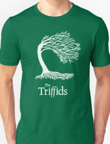 Triffids tree and logo in white - tree by Martyn P Casey T-Shirt