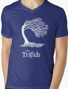 Triffids tree and logo in white - tree by Martyn P Casey Mens V-Neck T-Shirt