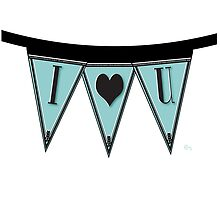 Manhattan 1920s Deco Blues Banner…I LOVE YOU  by CecelyBloom