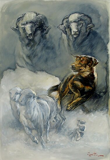 Young Working Kelpie Pup - montage by Pieter  Zaadstra