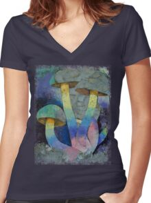 Magic Mushrooms Women's Fitted V-Neck T-Shirt