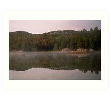 morning mist, canoe, Killarney Art Print