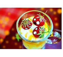 Strawberry Dessert Surprised Doodle Photographic Print