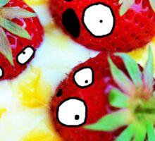 Strawberry Dessert Surprised Doodle Sticker