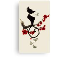 cherry blossom cat Canvas Print