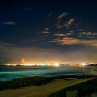 Midnight Beach Lights by TMphotography