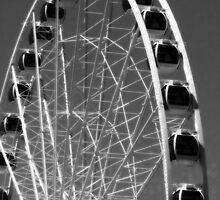 Seattle Ferris Wheel Black & White by DesignsbyAngela