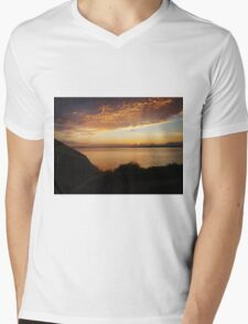 Radiant Seattle Beach Sunset Mens V-Neck T-Shirt