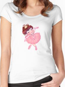 Pretty Pink Ballerina Women's Fitted Scoop T-Shirt