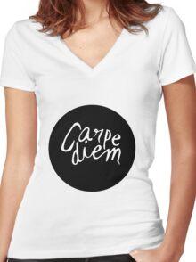 Carpe Diem - Seize the Day Women's Fitted V-Neck T-Shirt