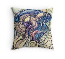 Сelestial fantasy.Hand draw  ink and pen, Watercolor, on textured paper Throw Pillow