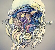 Сelestial fantasy.Hand draw  ink and pen, Watercolor, on textured paper by Sviatlana Kandybovich
