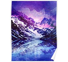 Abstract Snowy Mountains Poster