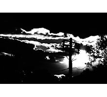 Power Pole and Setting Sun Photographic Print