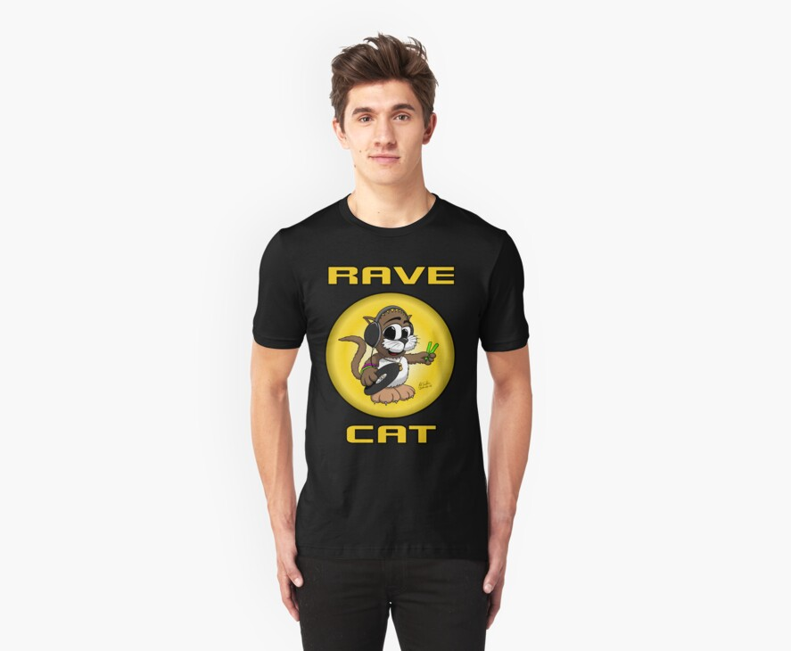 RAVE CAT - The TShirt by Pat Scullion