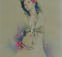 """Rose"" in Colour Pencil by Sara Moon"