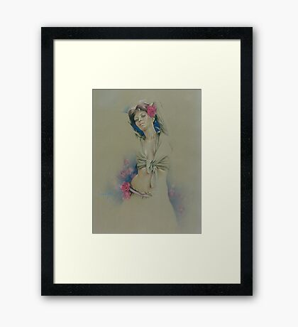 """Rose"" in Colour Pencil Framed Print"