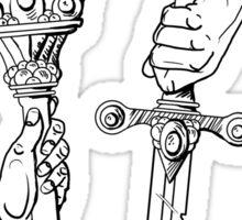 Knowledge + Glory: torch & sword woodblock in BLACK Sticker