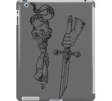 Knowledge + Glory: torch & sword woodblock in BLACK iPad Case/Skin