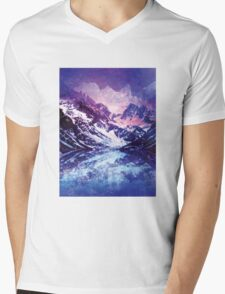 Abstract Snowy Mountains Mens V-Neck T-Shirt