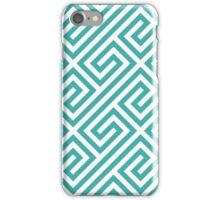Teal Greek Keys Geometric Pattern iPhone Case/Skin