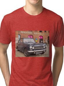 Blue Triumph Classic Car Tri-blend T-Shirt