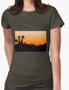 Giraffes in the African Sunset Womens Fitted T-Shirt